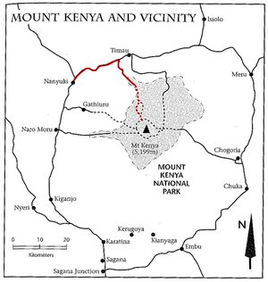 Schéma přístupových tras do Národního parku Mt. Kenya (Sirimon Route - červeně). Zdroj: Cameron M. Burns, Kilimanjaro & East Africa, A Climbing and Trekking Guide, The Mountaineers Books