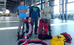 Members of the African expedition to the Ruzyne airport - from left Lada, Martin and Paul.