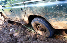 Bogged down by a jeep on the first day on Chogoria route.