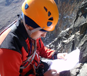 LLada studies topo during our Batian (5199m) climb, Mt. Kenya