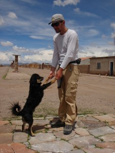 Vladimir dancing with the dog in village of Alota, Bolivia, 7. 2. 2006