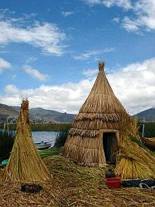 Typical residence on the floating reed islands of Uros, Peru, 19. 2. 2006