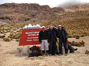 'Family foto' next to the entry point to National Reserve Salinas y Aguada Blanca (4855m), Peru, 21. 2. 2006