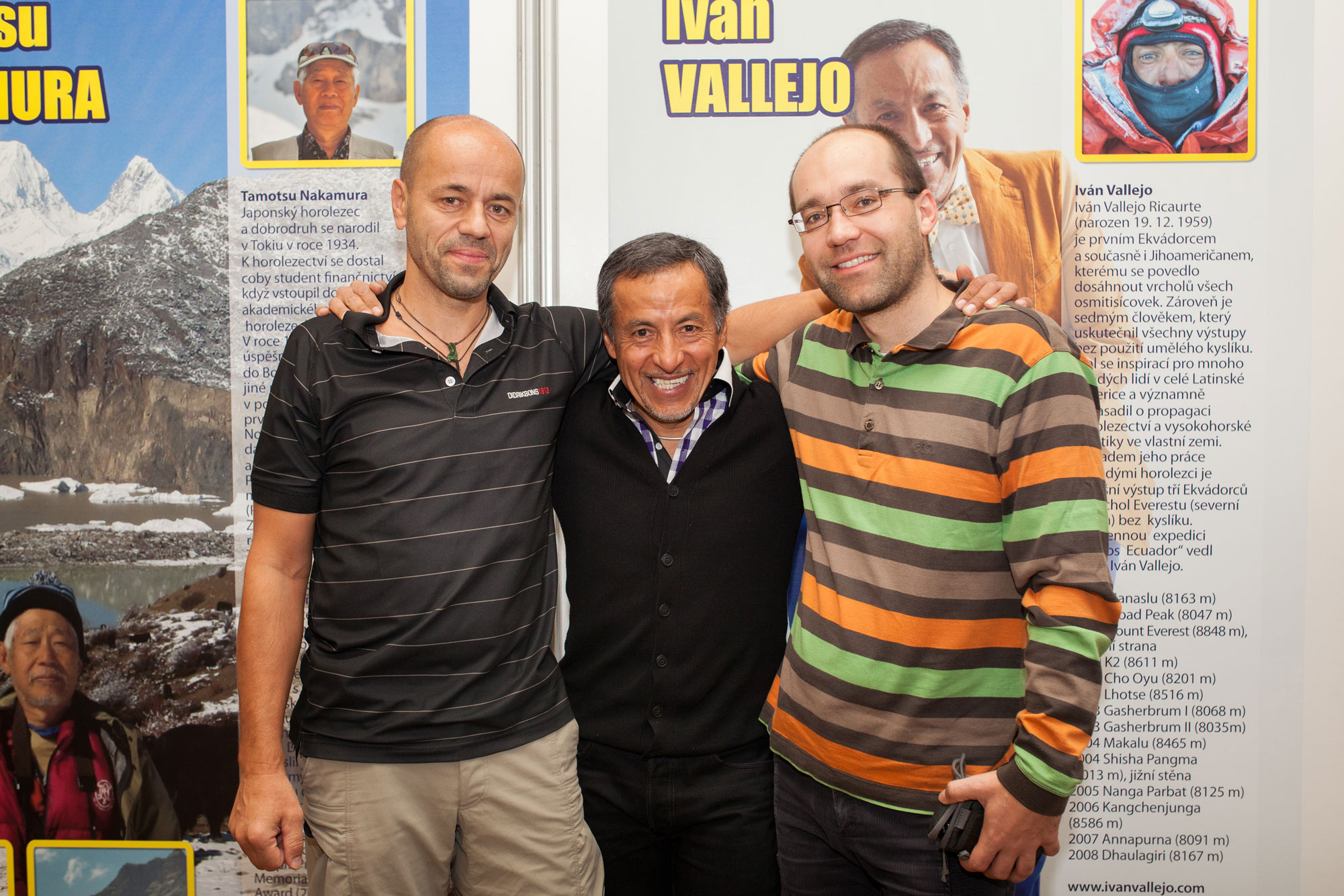 Iván Vallejo, Radek Jaroš and author of interview, Festival of alpinism in Prague (2013), Photo: Jan Holomek | f56.cz