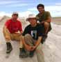 From left Vladimír, Martin a Armando on Salar de Uyuni, Bolívie, 8.2.2006